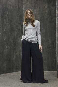 Warm grey knit and cool flaired pants.