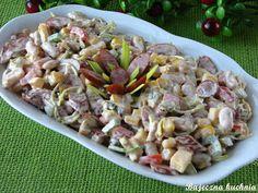 Bajeczna Kuchnia: Pikantna sałatka z kabanosem Chicken Thigh Recipes, Polish Recipes, Pasta Salad, Asparagus, Potato Salad, Appetizers, Food And Drink, Cooking Recipes, Menu