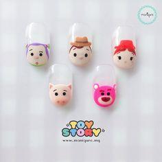 【Toy Story Tsum Tsum Nails】 Buzz Lightyear, Hamm, Sheriff Woody, Lotso and Jessie Nail Polish Hacks, Glitter Nail Polish, Cute Acrylic Nails, Cute Nail Art, Cute Nails, Pretty Nails, Disney Manicure, Nail Manicure, Toy Story Nails