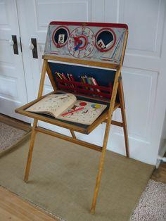 Vintage Chalkboard Easel Clock Children Wood Toy by vintagejane, $98.00