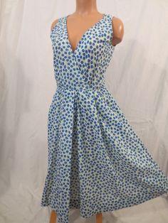 BERRY SWEET retro day dress - $35 at JOHNNY BOMBSHELL #vintage #wrapdress #noveltyprint #blue #berry