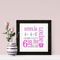 New Baby Announcement Personalised Word Art Print Perfect gift for new parents. Arrives already to be framed in your own frame.