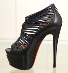 2014 Sexy Christian Louboutin Zoulou 16cm Strappy Platform Red Bottom High Heels Summer Cut Out Sandals Black Nude Leather Platform Shoes For Women $76.49