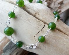 BC Jade Bracelet, Sterling Silver Green Jade Bracelet, Wire Wrapped Green Gemstone Bracelet, May & August Alternative Birthstone, Vegan by WaterRhythmGems on Etsy