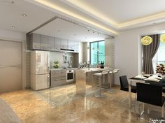 stunning decoration modern minimalist kitchen with atrractive pendants lamps above black dining table set as well