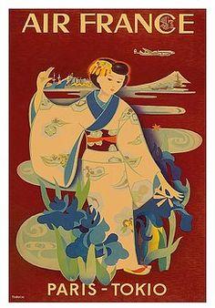 paris,tokyo,air france,japanese,geisha,kimono,vintage,airline,travel poster,yasse tabuchi,fuji,japan,vintage,vintage travel poster,retro,poster art,vintage advertising,vintage travel