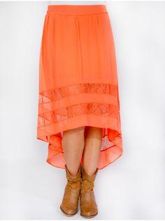 Coral orange high low skirt worn all year round!
