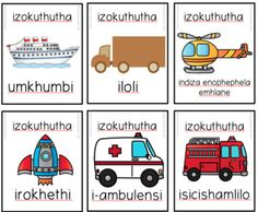 Isizulu Transport / Izokuthutha SNAP / Flashcards Zulu Language, Xhosa, English Writing Skills, School Stuff, Transportation, Classroom, Teaching, Activities, Education