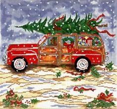 Needlepoint HandPainted Christmas Woody Cooper Oaks -Free US Shipping! Christmas Truck, Christmas Balls, Christmas Art, All Things Christmas, Christmas Ornaments, Christmas Ideas, Christmas Decoupage, Snoopy Christmas, Retro Christmas