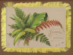 C8311 Good Victorian Embossed Greetings Card: Ferns, Silk Fringe, German Sentime | eBay