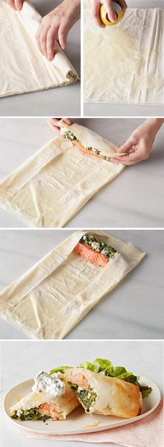 Spinach and feta wrap. Wrapped Salmon with Spinach & Feta – Serve up a delicious salmon in phyllo with spinach and feta to your family, and watch the smiles appear! This recipe is perfect for a lunchtime or dinnertime bite and is easy to prepare at home. Salmon Recipes, Fish Recipes, Seafood Recipes, Dinner Recipes, Cooking Recipes, Healthy Recipes, Recipies, Phyllo Recipes, Seafood Meals
