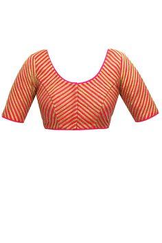 Pink gota stripe blouse by Nachiket Barve. Shop now: www.perniaspopups.... #blouse #nachiketbarve #pretty #clothing #shopnow #perniaspopupshop #happyshopping