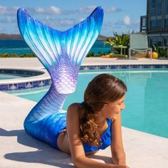 Dive deep into Blue Lagoon, Fin Fun's Limited Edition mermaid tail for kids and adults flowing with scales in turquoise, royal blue & purple hues. Cheap Mermaid Tails, Mermaid Tails For Sale, Realistic Mermaid Tails, Girls Mermaid Tail, Mermaid Swim Tail, Mermaid Fin, Mermaid Swimsuit, Mermaid Swimming, Tattoo Mermaid
