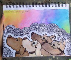 Colorful Drawings, Cute Drawings, Animal Drawings, Dibujos Zentangle Art, Sharpie Art, Cool Art Projects, Mandala Drawing, Art Journal Inspiration, Doodle Art