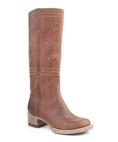 Take a look at this Rustic Brown Distressed Swirl Stitch Cowboy Boot - Women on zulily today!