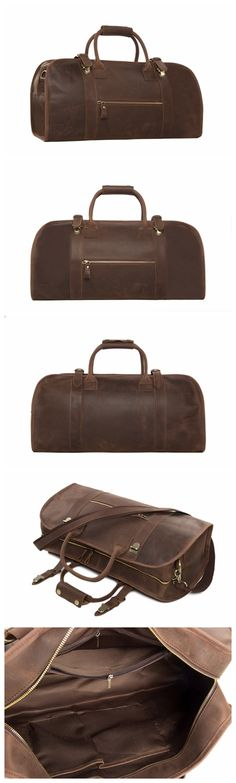 Vintage Genuine Leather Travel Duffle bag Weekender Messenger Bag Holdall