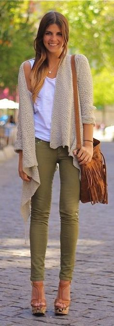 Olive skinny pants,pale purple top, gray cardigan