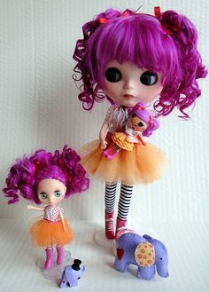 My custom Lalaloopsy Blythes. Alpaca hair rerooted by me. Faceup by Moofala.