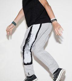 NUNUNU Grey Brush Stroke Baggy Pants  Cool Kids Clothes  Tiny Style Australia