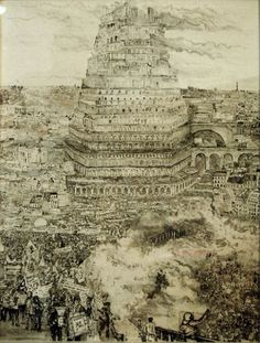 Tower of Babel: Old Europe Alex Pardee, Tower Of Babel, Hieronymus Bosch, Rene Magritte, Mc Escher, Historical Art, Caravaggio, Architecture Old, Future City