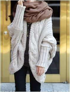 Women's Batwing Cable Knit Cardigan