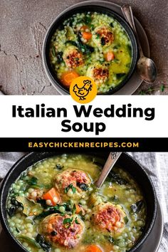 This easy recipe for Italian Wedding Soup with Chicken Meatballs is packed full of healthy ingredients and is hearty and filling. Made with acini di pepe pasta and cheesy chicken meatballs, this soup is a real treat! #weddingsoup #chickensoup #chickenmeatballs