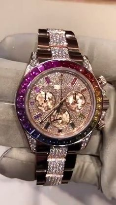 Rolex new daytona everose gold rainbow full pave diamond selling price Rolex Daytona Gold, Gold Rolex, Rolex Watches For Men, Luxury Watches For Men, Men's Watches, Stylish Watches, Cool Watches, Cheap Watches, Gold Diamond Watches