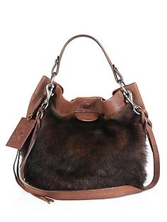 Ralph+Lauren+Collection Toscana+Shearling+Shoulder+Bag