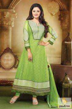 In this green chiffon net party wear Anarkali Salwar Suit, there are elegant designs work like r embroidery work, sequence work, patch work, Lace patti work.