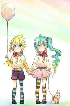 Kagamine Len, Miku Hatsune i don't ship but i like this pic XD