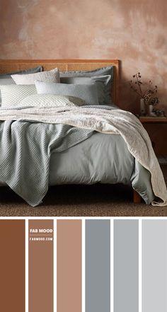 Warm Bedroom Colors, Earthy Bedroom, Bedroom Colour Palette, Bedroom Color Schemes, Blue Bedroom, Home Decor Bedroom, Modern Bedroom, Bedroom Brown, Blue Brown Bedrooms