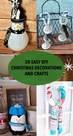 20 Easy DIY Christmas Decorations and Crafts Recycled Christmas Decorations, Diy Christmas Village, Diy Christmas Ornaments, Christmas Ideas, Kids Clay, Baby Food Jars, Ornament Tutorial, Holiday Fun, Fun Crafts