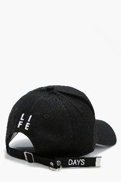#boohoo Life Slogan Baseball Cap - black DZZ43515 #Laila Life Slogan Baseball Cap - black