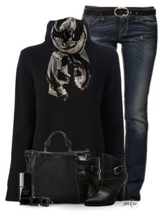 """""""Scarf Love"""" by jackie22 ❤ liked on Polyvore featuring Sisley, Proenza Schouler, Wilfred, Burberry, belle by Sigerson Morrison, Orciani, Chanel, Simon Frank, women's clothing and women"""