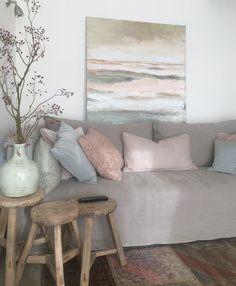 """ Before dawn "" (110x110) Landscape / pastelkleuren / pastel colours/  Interiors DMF bank / styling @ Ginterieur / Amerongen."