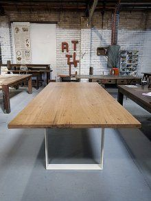 Neel Dey Furniture- Current stock on the floor Dinning Tables And Chairs, Timber Dining Table, Space Interiors, Office Interiors, Recycled Timber Furniture, Restaurant Furniture, Furniture Inspiration, Home Interior Design, Jeffrey Smart