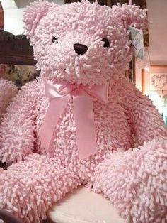 A pink teddy bear.  It still has it's tag on.