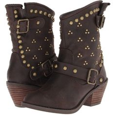 Not Rated Baja Women's Boots, Brown (685 ZAR) ❤ liked on Polyvore featuring shoes, boots, ankle boots, brown, brown boots, faux leather ankle boots, brown ankle boots, faux leather boots and studded boots