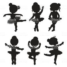 Set of silhouettes of little ballerinas – Kaufen Sie diese Illustration bei Shutterstock und finden Ballerina Kunst, Ballerina Birthday, Little Ballerina, Ballerina Silhouette, Girl Silhouette, Balerina, Free Vector Art, Royalty Free Images, Diy And Crafts
