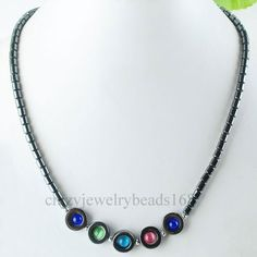 "Multicolor Opal Black Hematite Beads Pendant Necklace 18"" F084"
