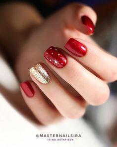 Christmas Gel Nails, Christmas Nail Art Designs, Winter Nail Designs, Winter Nail Art, Diy Holiday Nails, Winter Nails Colors 2019, Seasonal Nails, Red Nail Art, Red Acrylic Nails