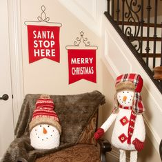 Pavilion Gift Company Santa Stop Here Red Front Christmas Door Mat