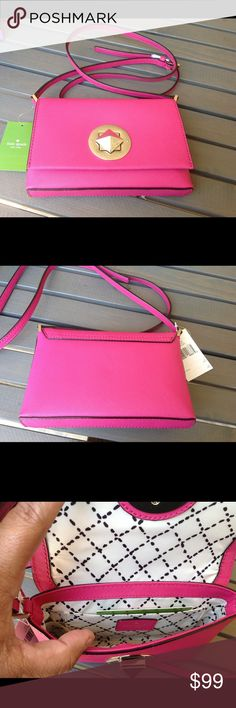"Kate Spade Newbury Lane Handbag Kate Spade Newbury Lane Sally handbag in sweetheart pink.  Adjustable strap is long enough to wear as a crossbody.  Fabric lined interior has a slip pocket.  Comes with Kate Spade care card.  7.5"" x 1.25"" x 4.75"" high.  NWT  NO TRADES kate spade Bags"