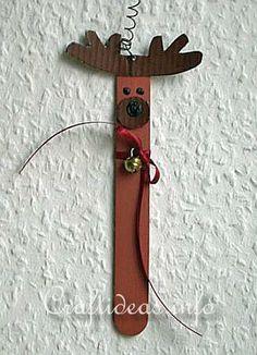 Craftideas.info - Free Kids Christmas Craft Project - Make a Craft Stick Reindeer