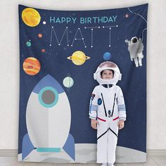 Wedding Decor Bridal Shower Engagement Backdrops & Maps by PaperRamma Happy Birthday Matt, 1st Boy Birthday, Baby Boy Birthday Decoration, Astronaut Party, Outer Space Party, Handprint Art, Space Theme, Themes Photo, Christmas Gifts For Kids
