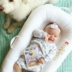 """@marawilsonart says: """"She's excited and I am too!! This little gal slept all the way through the night last night thanks to her Dockatot baby lounger!:"""