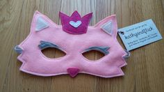 PINK PRINCESS CAT  Handmade Children's Felt Mask by kathyandflick