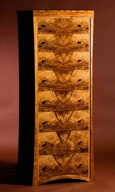 'Mantis' Chest of Drawers (2007) in Tasmanian Blackwood, Celery Top, Cedar-of-Lebanon and leather.
