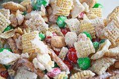 Create A Joyful Life: White Chocolate Chex Mix 4 cups Rice Chex 4 cups Corn Chex 2 cups pretzel sticks 2 cups peanuts 12 oz. bag of plain M & M's (green & red) 12 oz. bag of peanut M & M's (green & red) 16 oz. Christmas Mix, Christmas Chocolate, White Christmas, Christmas Stuff, Winter Holiday, Christmas Holiday, Holiday Fun, Christmas Decor, Festive