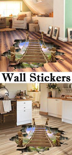 Removable 3D Drawbridge Bedroom Kindergarten Decoration Floor Sticker